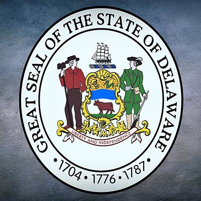 Vitality Digital Art - Delaware State Seal by Movie Poster Prints