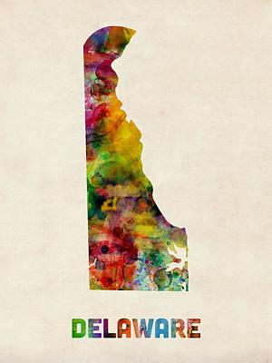 Digital Art - Delaware Watercolor Map by Michael Tompsett