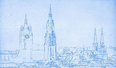 Skylines Drawings - Delft Netherlands blueprint by Celestial Images