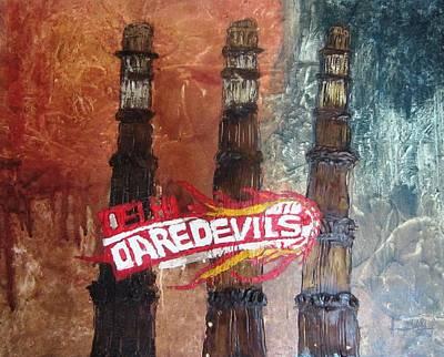 Cricket Mixed Media - Delhi Daredevils In Delhi by Niveditha S