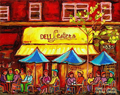 Painting - Deli Lesters Smoked Meat Paris Style Sidewalk Cafe Bistro Paintings Street Scene Montreal Art  by Carole Spandau