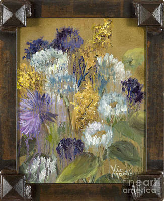 Painting - Delicate Aroma I With Gold Leaf By Vic Mastis by Vic  Mastis