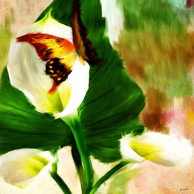 Lilies Digital Art - Delicate Duo by Lourry Legarde