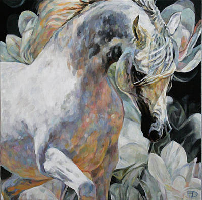 Painting - Delicate Flowers. Arabian Thoroughbred by Jana Fox
