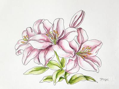 Painting - Delicate Lilies by Inese Poga