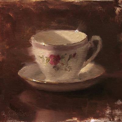 Tea Painting - Delicate Lines Teacup And Saucer  by Karen Whitworth