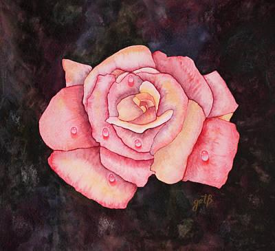 Delicate Pink Rose With Water Droplets Original Watercolor Painting Print by Georgeta  Blanaru