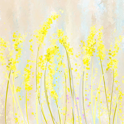 Yellow Wall Art - Painting - Delicately Soft- Yellow And Cream Art by Lourry Legarde