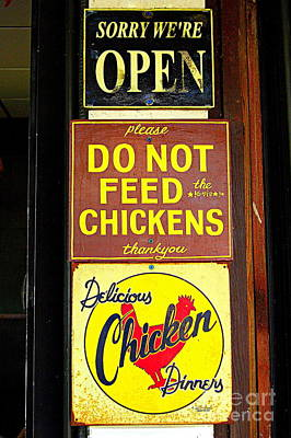 Western Art - Delicious Chicken Dinners Sign by Catherine Sherman