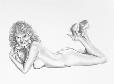 Topless Drawing - Delighted To Be Nude by Shelby