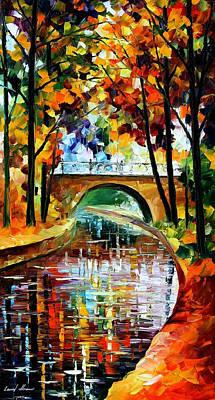 Delightful Park - Palette Knife Oil Painting On Canvas By Leonid Afremov Original by Leonid Afremov