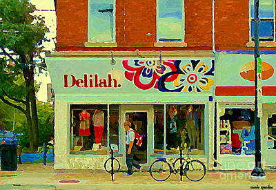 Painting - Delilah Dress Shop The Glebe Old Ottawa Corner Store Paintings Streetscenes Ontario Art C Spandau by Carole Spandau
