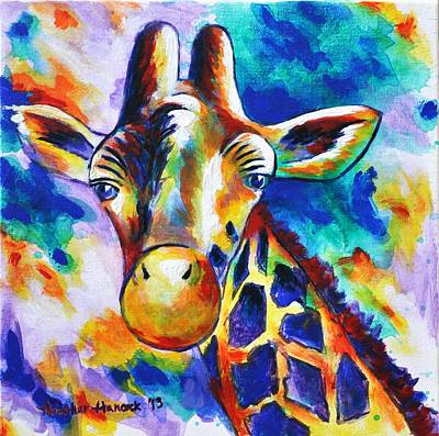 Geometric Giraffe Painting - Delilah by Heather Hancock