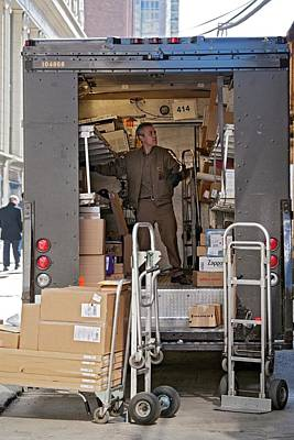 Deliver Driver Loading His Van Art Print