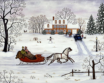 Horse And Sleigh Painting - Delivering Gifts by Linda Mears