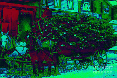 Horse And Buggy Digital Art - Delivering The Christmas Trees - 20130208 by Wingsdomain Art and Photography