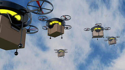 Helicopter Photograph - Delivery Drones by Christian Darkin
