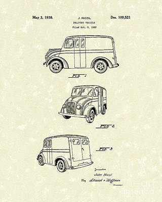 Drawing - Delivery Vehicle 1938 Patent Art  by Prior Art Design