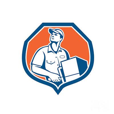 Delivering Digital Art - Delivery Worker Deliver Package Carton Box Retro by Aloysius Patrimonio