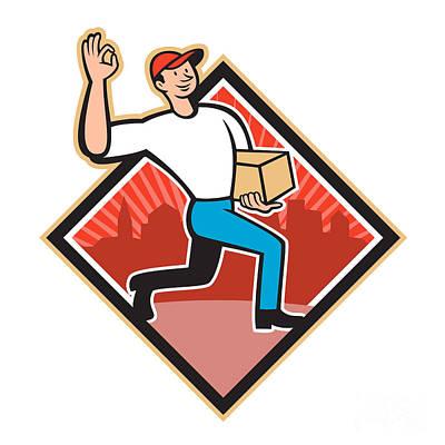 Delivering Digital Art - Delivery Worker Deliver Package Cartoon by Aloysius Patrimonio