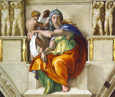 Religious Artist Painting - Delphic Sybil by Michelangelo di Lodovico Buonarroti Simoni