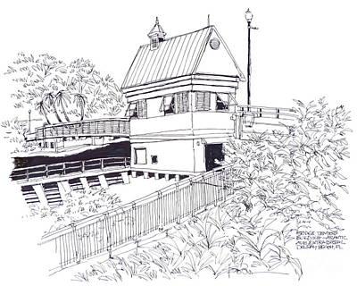 Delray Beach Bridge Tenders Building Located Above The Intracoastal Waterway. Florida. Art Print
