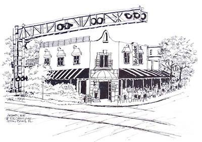 Delray Beach Restaurant. Vic Angelos On Atlantic Ave. At Railroad Crossing. Florida. Art Print