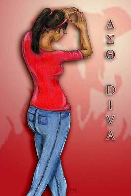 Denim Drawing - Delta Diva by BFly Designs