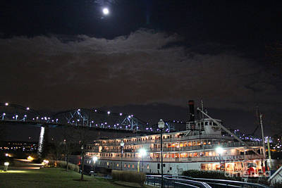 Delta Queen Under A Full Moon Art Print by Kathy  White