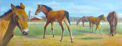 Painting - Delval Horse Farm In Spring by Oz Freedgood
