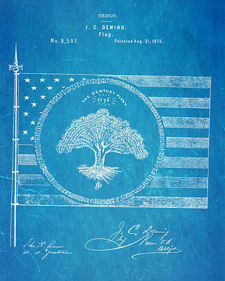 1875 Photograph - Deming Century Flag Patent Art 1875 Blueprint by Ian Monk