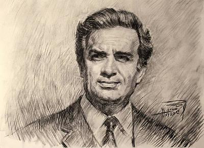 Celebrity Wall Art - Drawing - Demir Hyskja Great Albanian Actor by Ylli Haruni