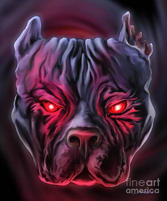 Painting - Demon Pit Bull by Michael Spano