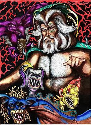 Sorceror Drawing - Demonmaster by Jamie Jonas