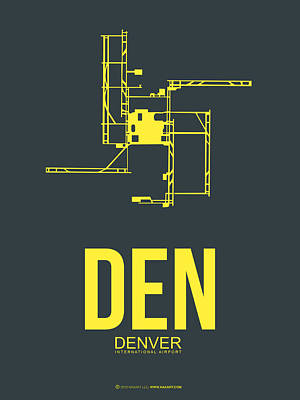 Denver City Wall Art - Digital Art - Den Denver Airport Poster 1 by Naxart Studio
