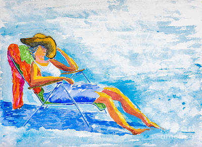 Painting - Dena At The Beach by Walt Brodis