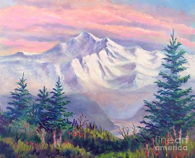 Denali Alpenglow Print by Teresa Ascone