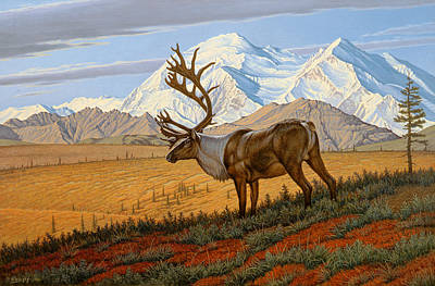 Caribou Painting - Denali  by Paul Krapf