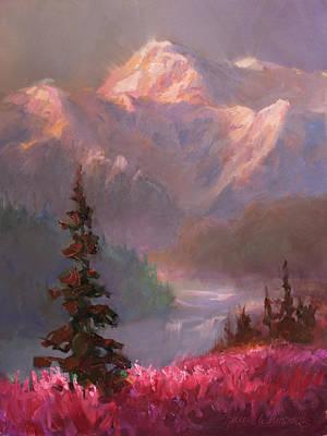 Fireweed Painting - Denali Summer - Alaskan Mountains In Summer by Karen Whitworth
