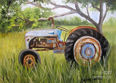 Dena's Blue Tractor Art Print