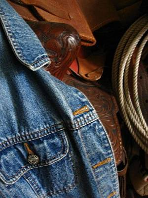 Photograph - Denim And Leather by Deb Martin-Webster