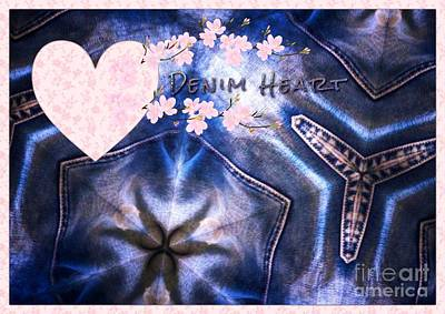 Mixed Media - Denim Heart by Joan-Violet Stretch