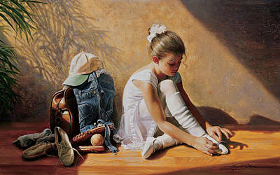 Girls Painting - Denim To Lace by Greg Olsen