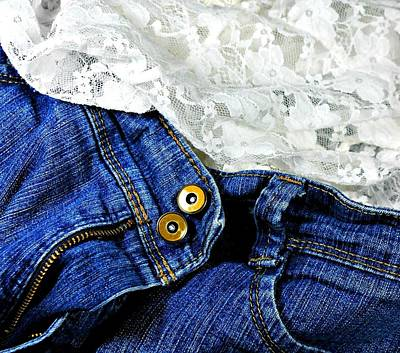 Blue Jeans Photograph - Denim'n Lace by Diana Angstadt