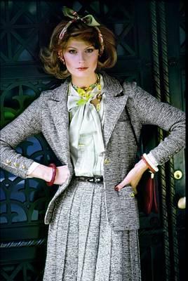 Photograph - Denise Hopkins Wearing An Adolfo Suit by Arthur Elgort