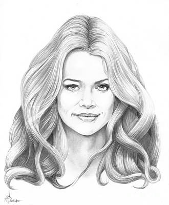 Famous People Drawing - Denise Richards by Murphy Elliott