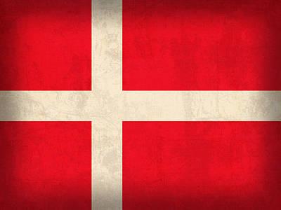 Denmark Mixed Media - Denmark Flag Vintage Distressed Finish by Design Turnpike