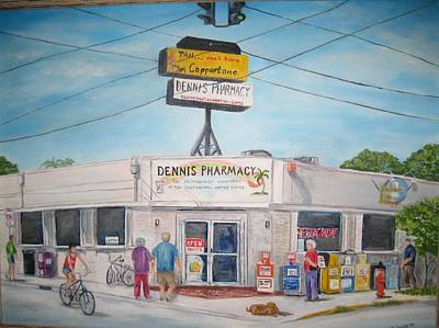 Pharmacy Painting - Dennis Pharmacy - No More Refills by Linda Cabrera