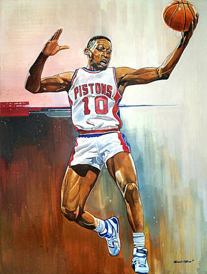 Dennis Rodman Bad Boy Pistons Art Print by Michael  Pattison