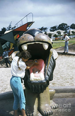 Photograph - Dennis The Menace Park Lion Water Fountain Monterey Circa 1957 by California Views Archives Mr Pat Hathaway Archives